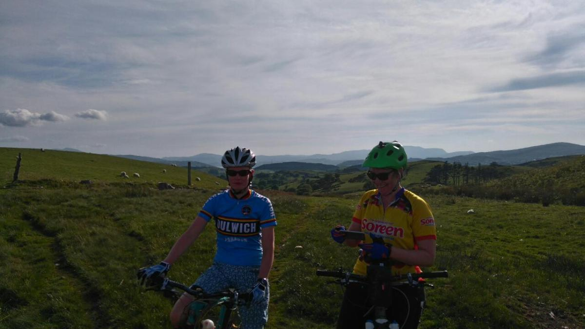 Girls on mountain bikes